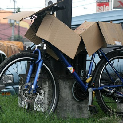 bike covered in cardboard