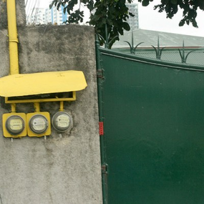 electric meters and gate