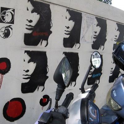 jim morrison stencils on a wall