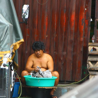 man doing the laundry