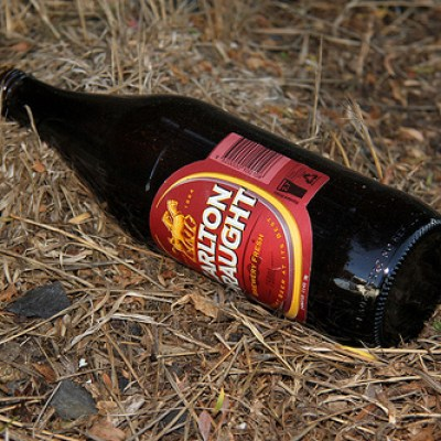 beer bottle on the ground