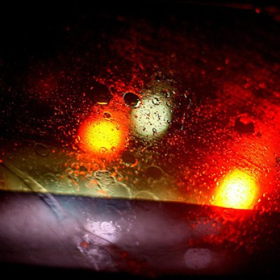 car windshield on a rainy evening
