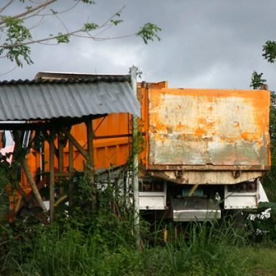parked orange truck
