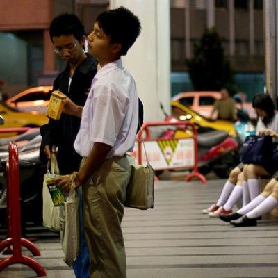 students waiting for the bus