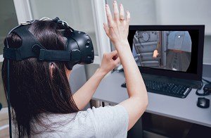 person using virtual reality display