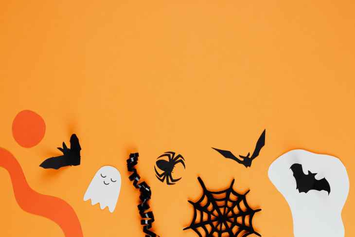 A range of Halloween decorations on a orange background such as; a black bat, a white ghost, a black spider and cobweb, and a black bat on a white blob background.