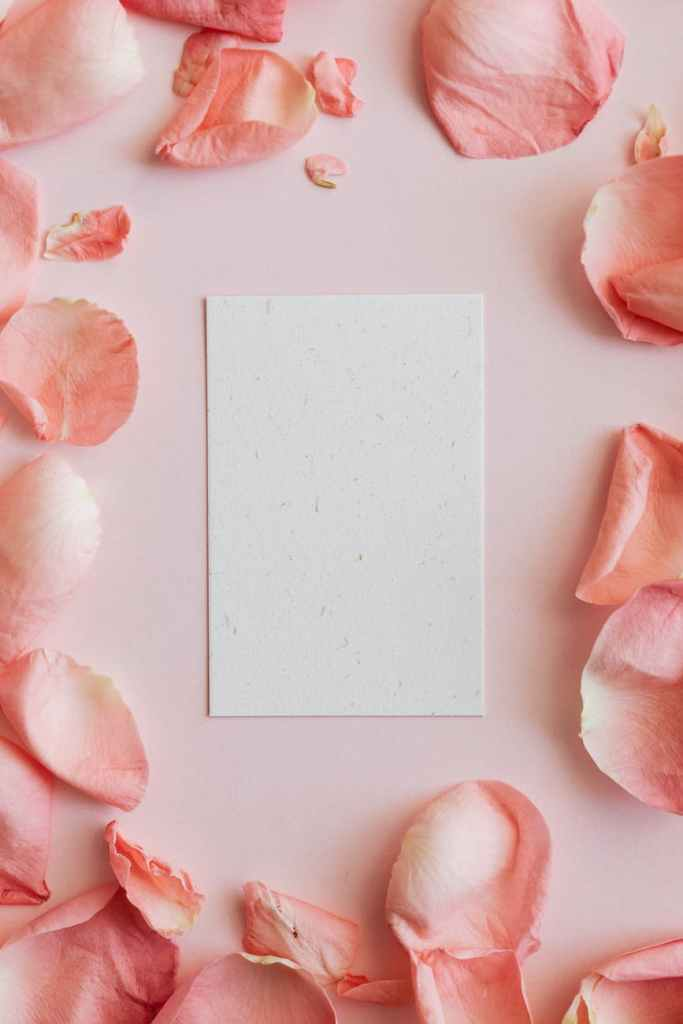 empty card among pink rose petals, a letter to yourself.