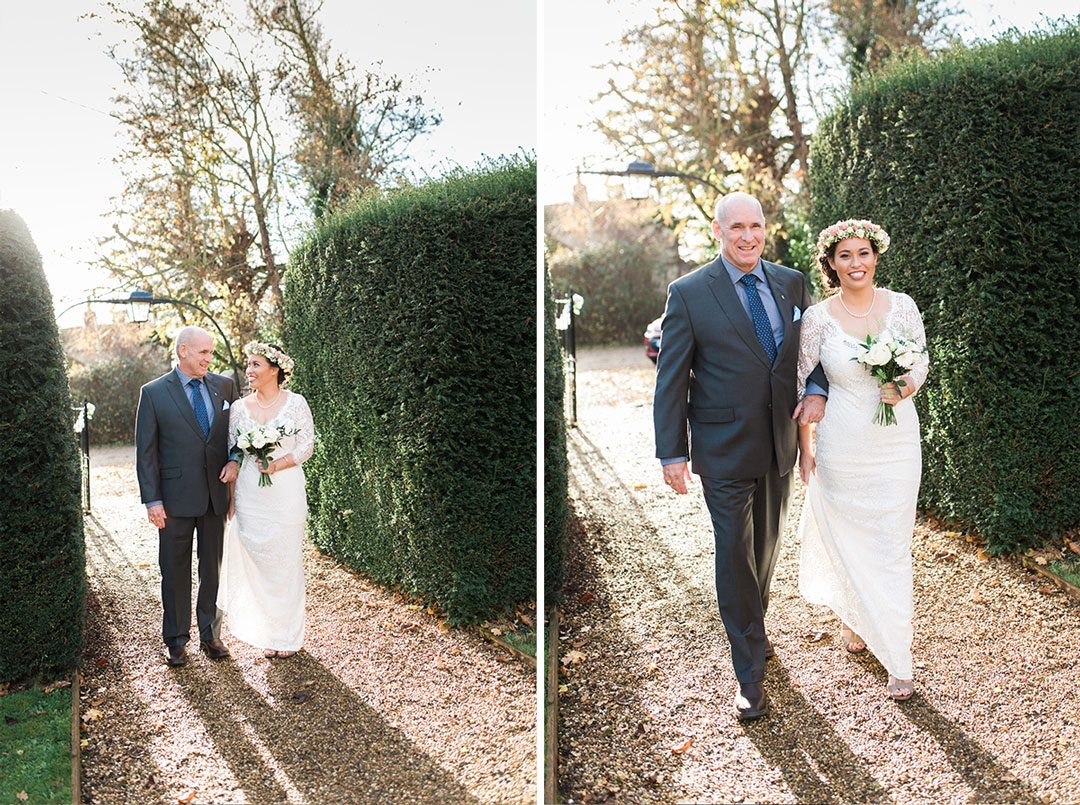 Bride and father outside Mersea Church on wedding day