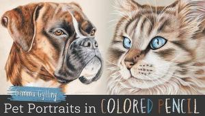 """""""Pet Portraits in Colored Pencil"""", an online video course by Gemma Gylling"""