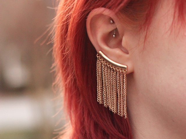 Gold Fringe Ear Cuff and a Rook Piercing - The Most Dramatic Ways to Shake up Your Style Like Never Before