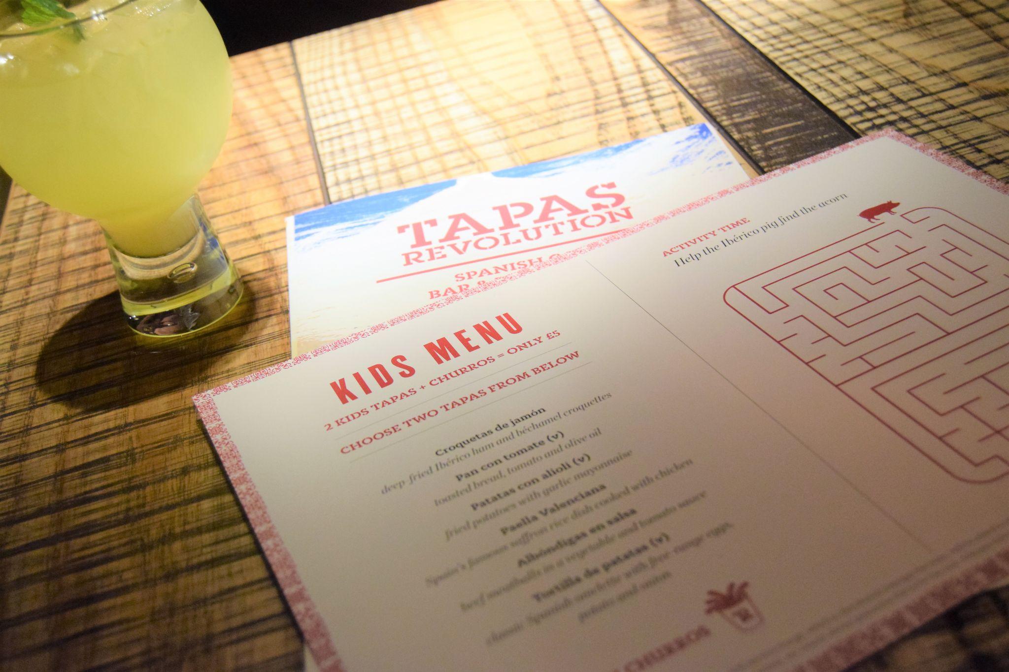 kids menu at tapas revolution