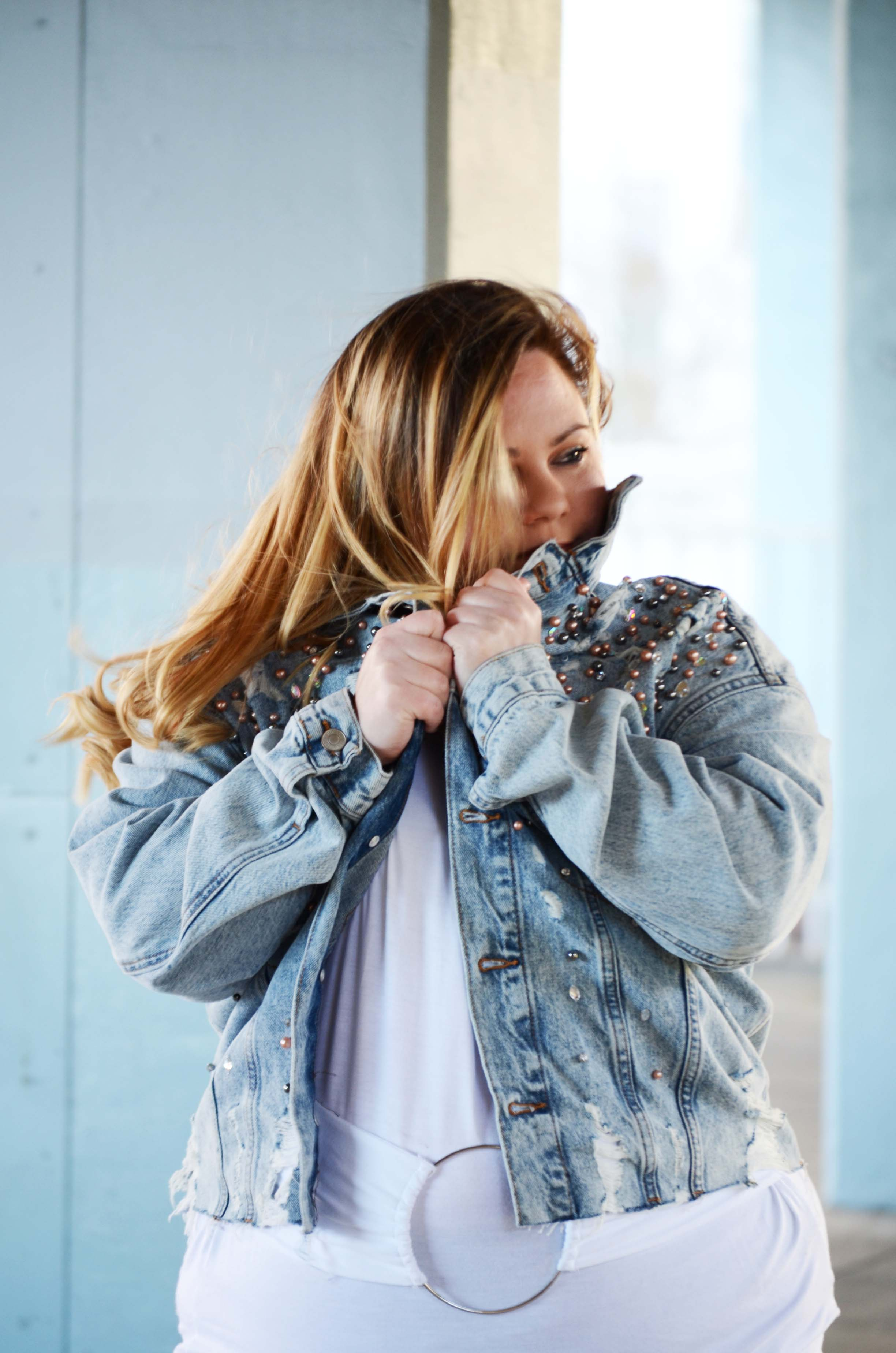 Blonde hair and denim jacket