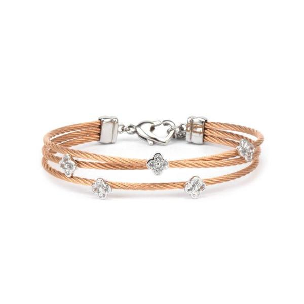 Charriol Charriol- Malia Silver Bangle with White Topaz, Stainless steel rose gold PVD cable - Gemorie