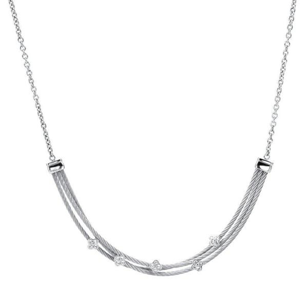 Charriol- Malia Silver Necklace with White Topaz, Stainless steel cable - Gemorie