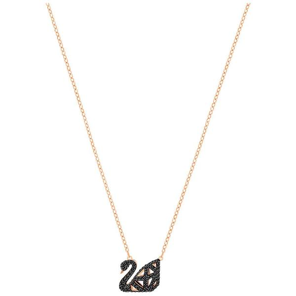 FACET SWAN NECKLACE, BLACK, MIXED METAL FINISH - Gemorie