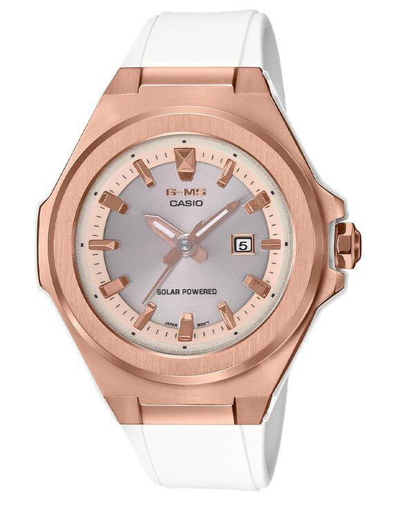 G-SHOCK G-SHOCK G-MS Round 3 Hands Analog Women's Watch - White & Rose Gold - Gemorie