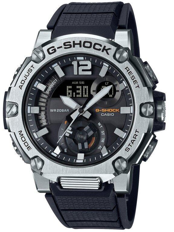 G-SHOCK G-SHOCK G-STEEL Carbon Core Guard Round Graphic Digital Display Men's Watch - Black & Stainless Steel - Gemorie
