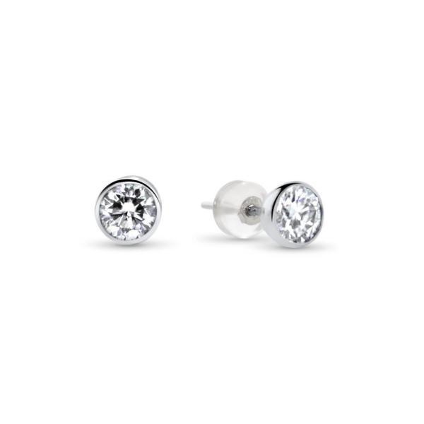 """GEMODA GEMODA """"Cecily"""" 1ctw Moissanite Bezel Set Stud Earrings in 18K White Gold - Gemorie"""
