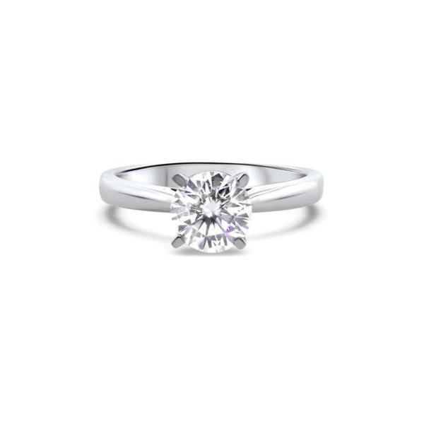 "GEMODA GEMODA ""Dream"" Moissanite 1ctw Round Solitaire 18k Cathedral Setting Engagement Ring - Gemorie"