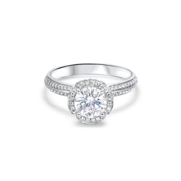 """GEMODA GEMODA """"Forever Yours"""" 1ctw Moissanite Engagement Ring in 18k White Gold Diamond Setting - Gemorie"""