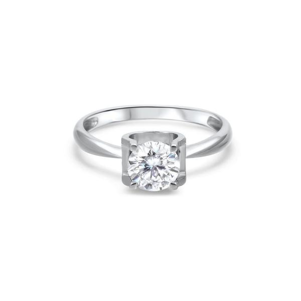 "GEMODA GEMODA ""Melody"" 1ctw Moissanite Solitaire 18k White Gold Engagement Ring - Gemorie"