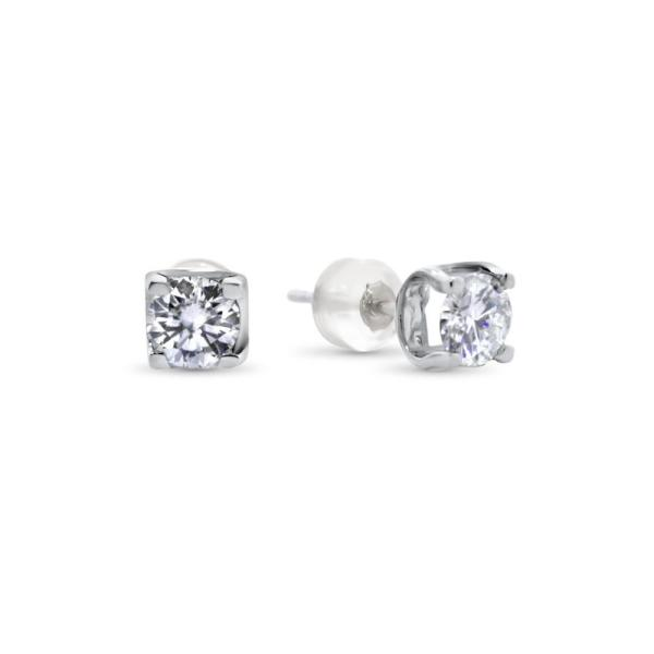 "GEMODA GEMODA ""Modern Love"" 1ctw Round Moissanite Solitaire Earrings (0.5ctw ea) - Gemorie"
