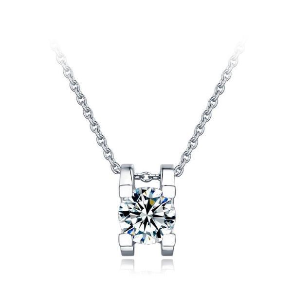 """GEMODA GEMODA """"Normandie"""" Moissanite Solitaire Necklace in 925 Sterling Silver - Gemorie"""