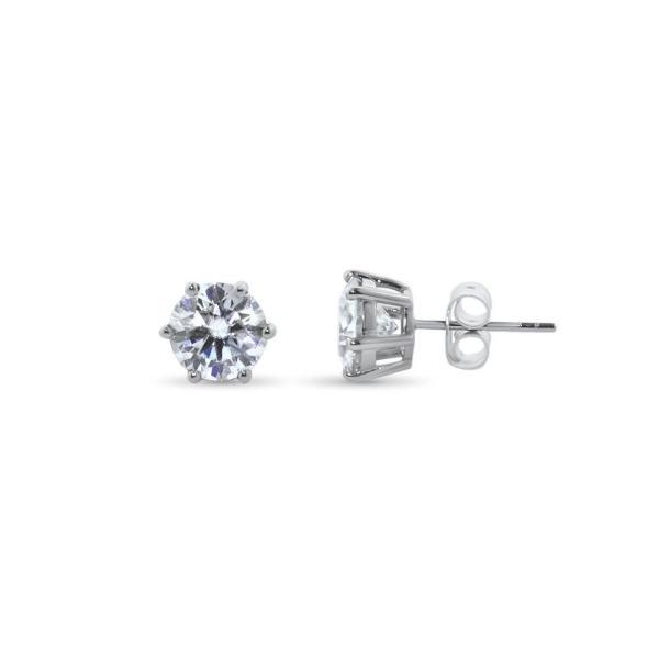 "GEMODA GEMODA ""Rosé"" Moissanite 3ctw Round Colorless Solitaire Earrings (1.5ct ea) - Gemorie"