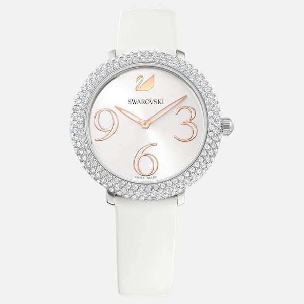 Gemorie SWAROVSKI Crystal Frost Leather Watch - Stainless Steel & White - Gemorie