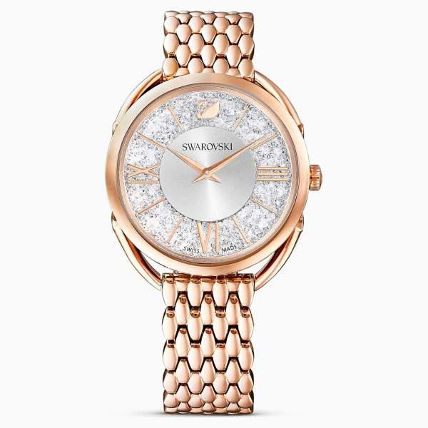 Gemorie SWAROVSKI Crystalline Glam Watch, Metal Bracelet, White, Rose-Gold Tone PVD - Gemorie