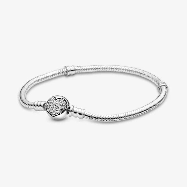 Pandora PANDORA Pandora Moments Sparkling Heart Clasp Snake Chain Bracelet - Gemorie