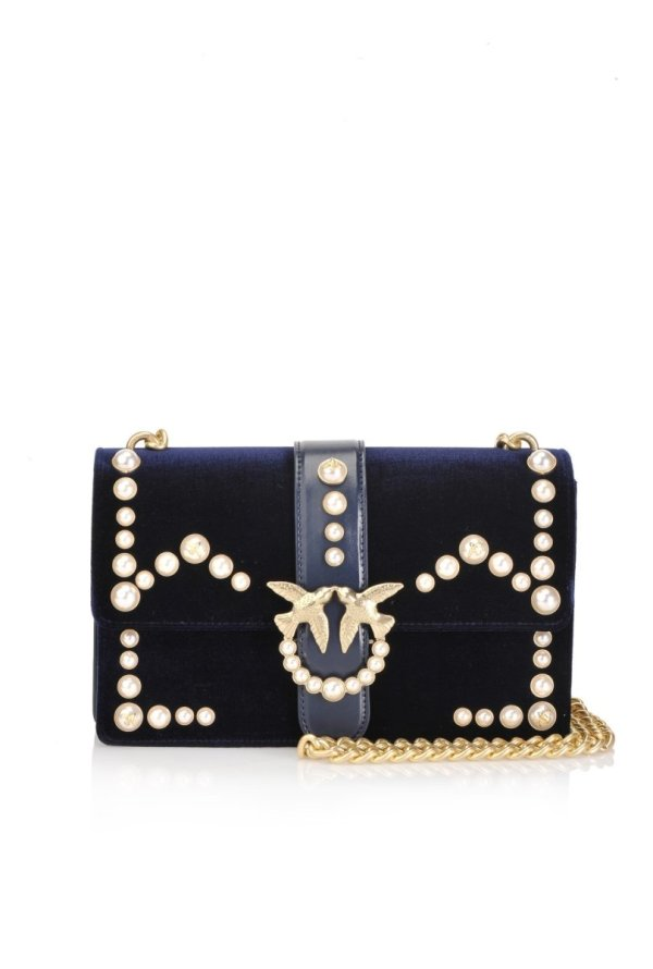 PINKO PINKO- VELVET LOVE BAG WITH PEARLS AND GOLD CHAIN - Gemorie