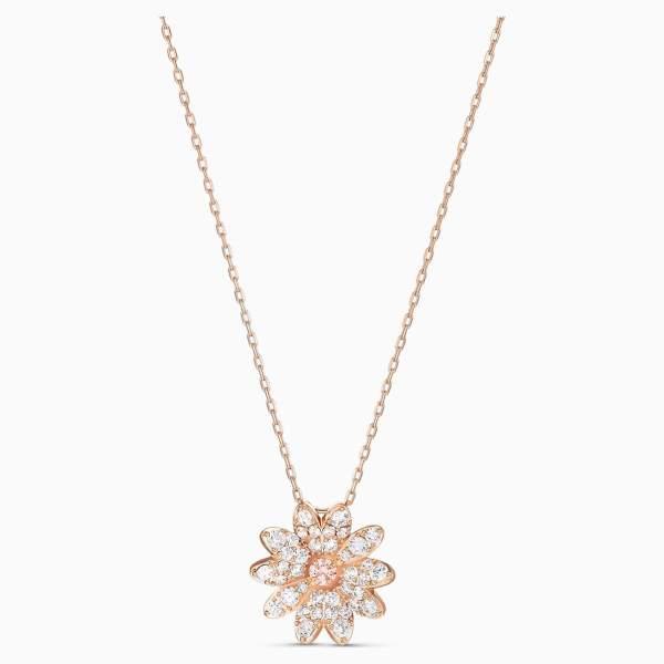 Swarovski SWAROVSKI Eternal Flower Pendant - Pink & Rose-Gold Tone Plated - Gemorie