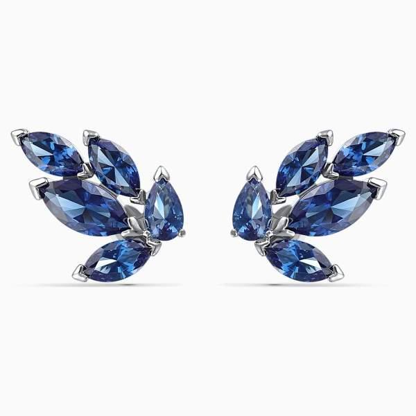 Swarovski SWAROVSKI Louison Stud Pierced Earrings - Blue & Rhodium Plated - Gemorie