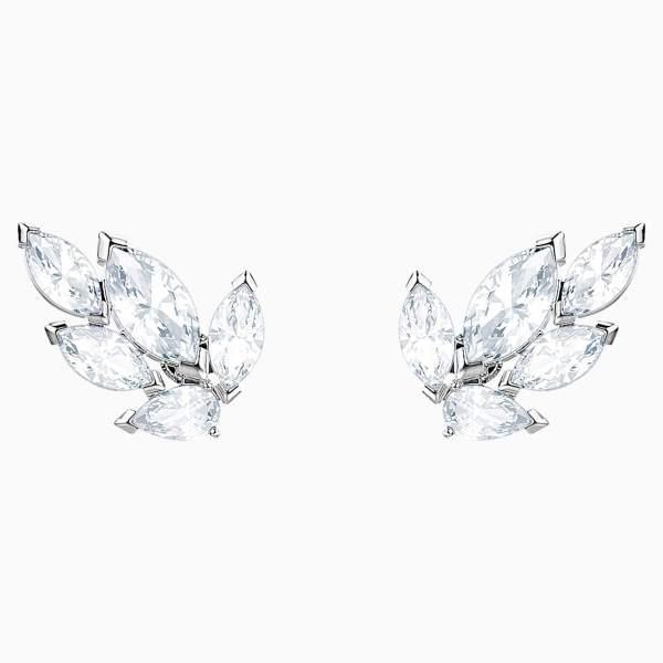 Swarovski SWAROVSKI Louison Stud Pierced Earrings - White & Rhodium Plated - Gemorie