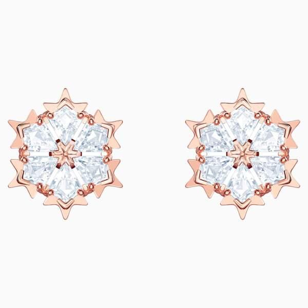 Swarovski SWAROVSKI Magic Pierced Earrings - White & Rose-Gold Tone Plated - Gemorie
