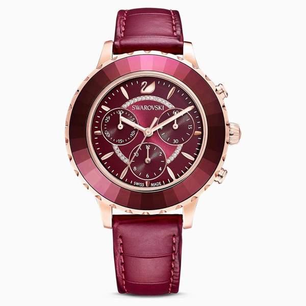Swarovski SWAROVSKI Octea Lux Chrono Leather Strap Watch - Red and Rose Gold Tone Plated - Gemorie