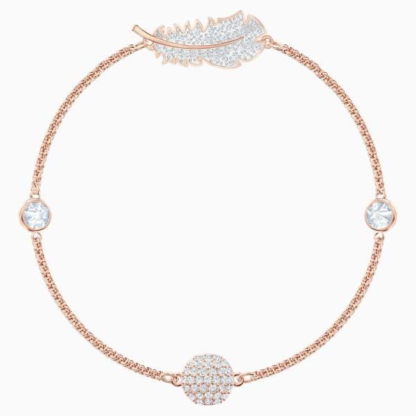 Swarovski SWAROVSKI Remix Collection Feather Strand Bracelet - White & Rose Gold Tone Plated - Gemorie