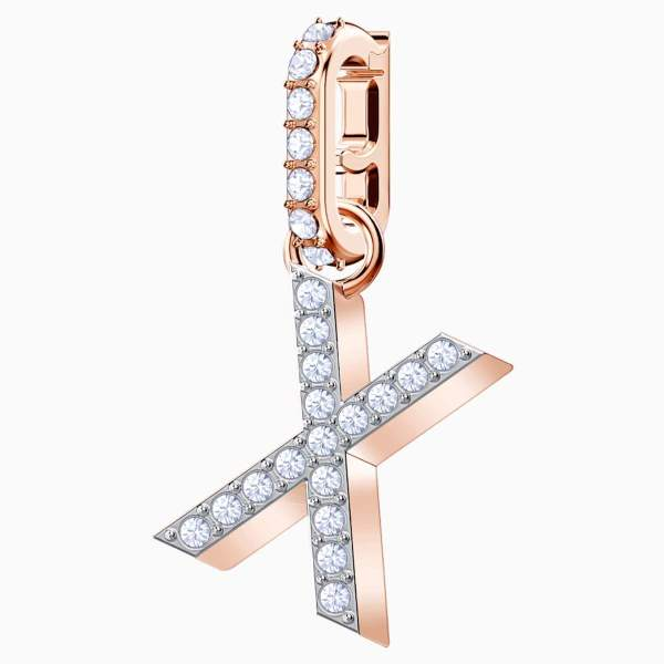 Swarovski SWAROVSKI Remix Collection 'X' Charm - White & Rose-Gold Tone Plated - Gemorie