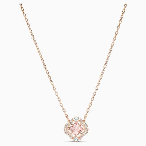 Swarovski SWAROVSKI Sparkling Dance Clover Necklace - Pink & Rose-Gold Plated - Gemorie