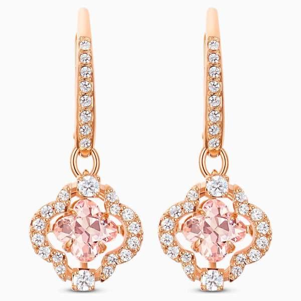 Swarovski SWAROVSKI Sparkling Dance Clover Pierced Earrings - Pink & Rose Gold Tone Plated - Gemorie