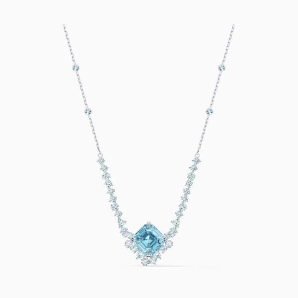 Swarovski SWAROVSKI Sparkling Square-Shaped Crystal Necklace - Aqua and Rhodium - Gemorie