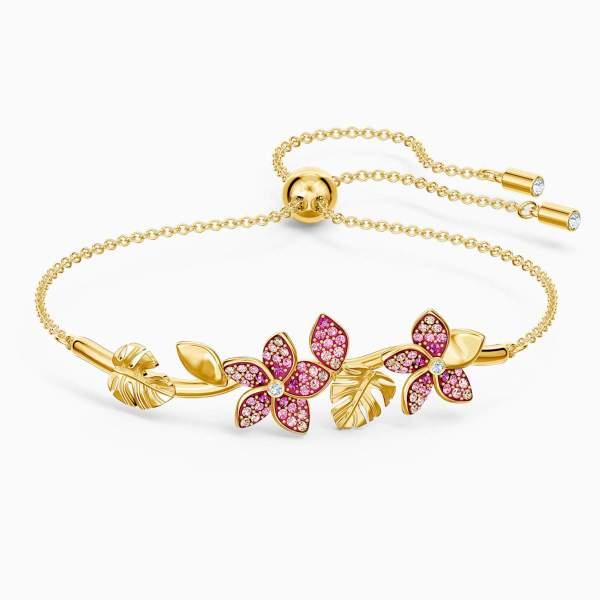 Swarovski SWAROVSKI Tropical Flower Bangle - Pink & Gold-Tone Plated - Gemorie