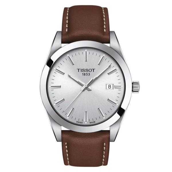 Tissot TISSOT Gentleman Round HMS Dial Men's Leather Watch - Brown - Gemorie