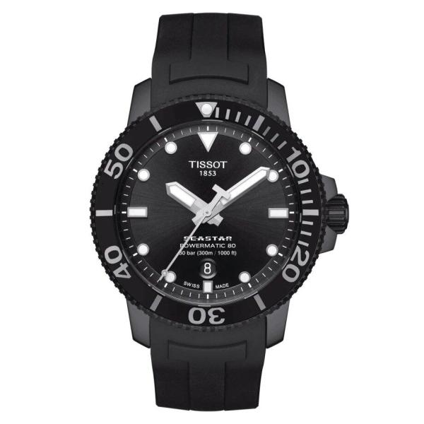 Tissot TISSOT Seastar 1000 Powermatic 80 Rubber Watch - Black - Gemorie