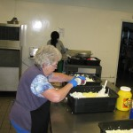 Volunteer Getting Ready to Make Egg Salad Sandwiches