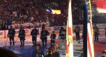 Front view of National Anthem ceremony. Matthew between Callahan and Bishop.