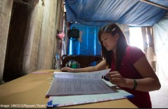 """Vang Thi Giang, 22, 4th grade teacher, Vietnam: """"I am a member of the Giay ethnic group. I speak Nung and Vietnamese. I haven't learned Hmong yet so it's quite a challenge teaching ethnic students. Towards a long-term solution we have tutoring sessions to help students improve their Vietnamese, or we organize outdoor activities and games to encourage interaction."""""""