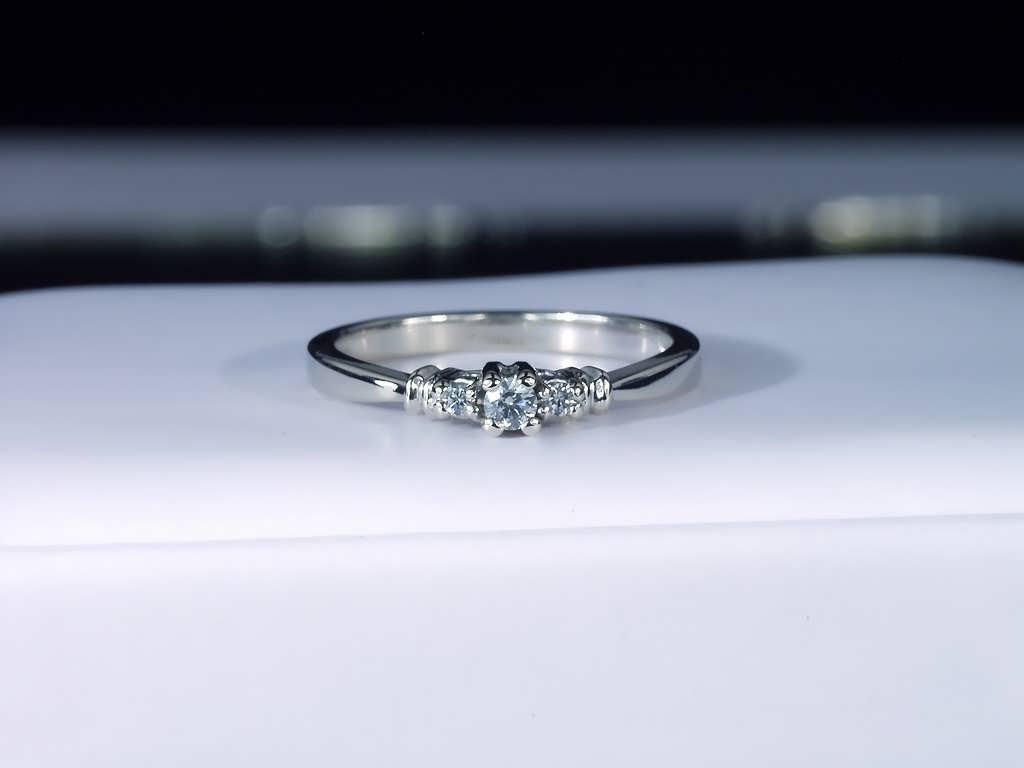 14k Modest Design Past Present Future Engagement Ring
