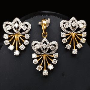 Diamond Pendant Set - ডায়মন্ড বা হীরার কানের দুল ও লকেট